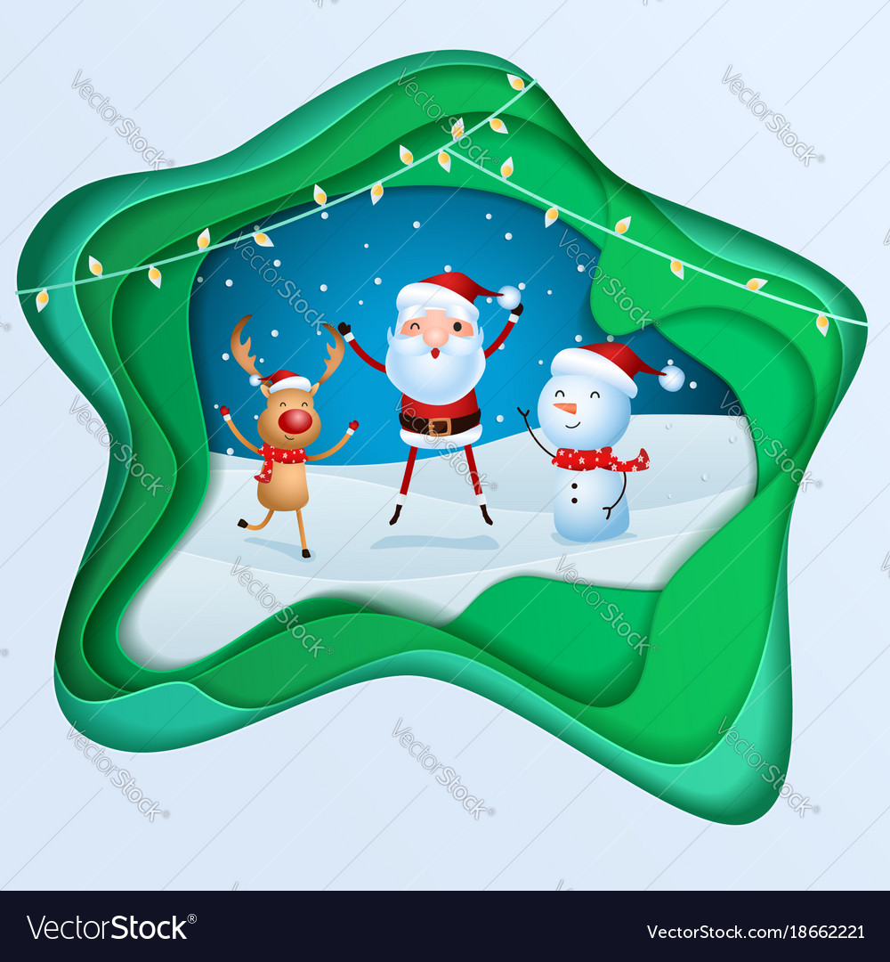 Paper art depth concept of christmas