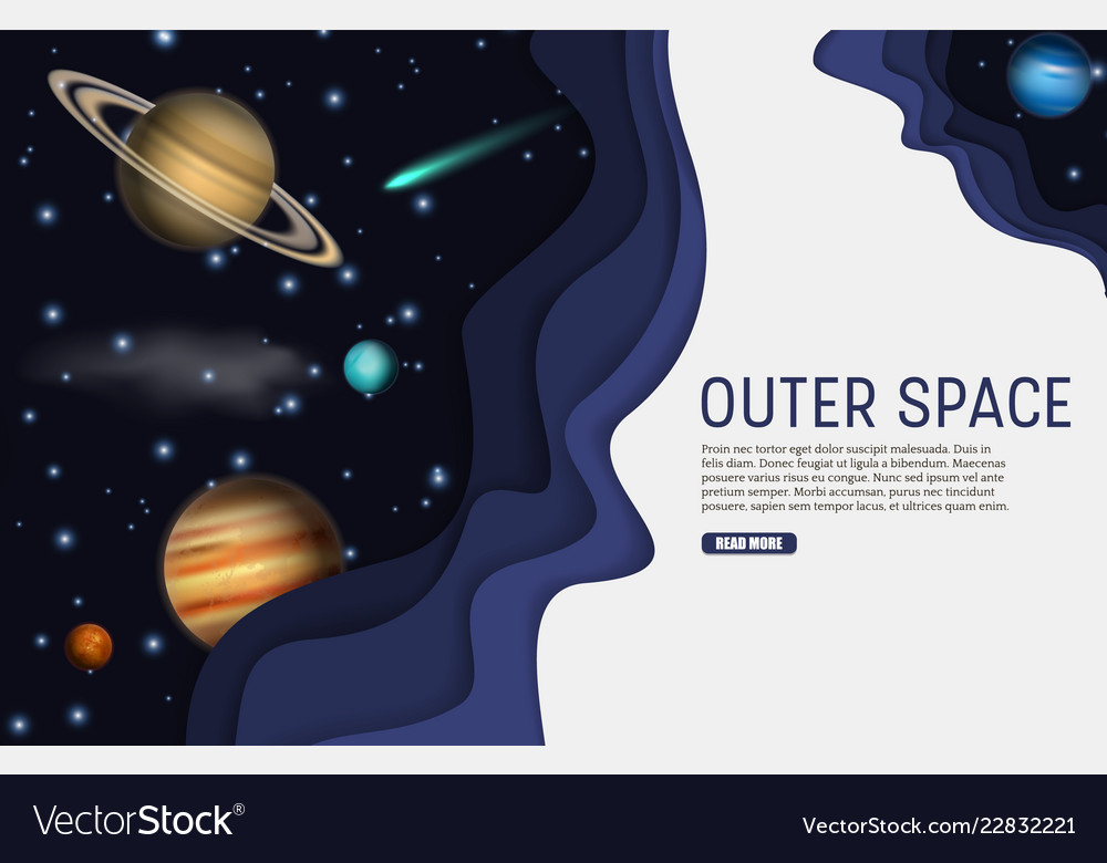 Paper cut outer space web banner template