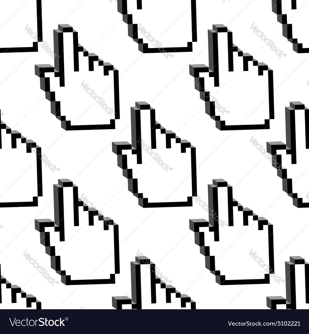 Pixelated cursor hands seamless pattern