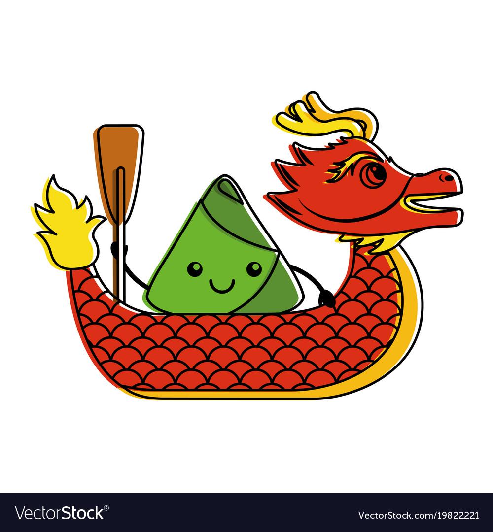 Red dragon rice dumpling paddling festival chinese