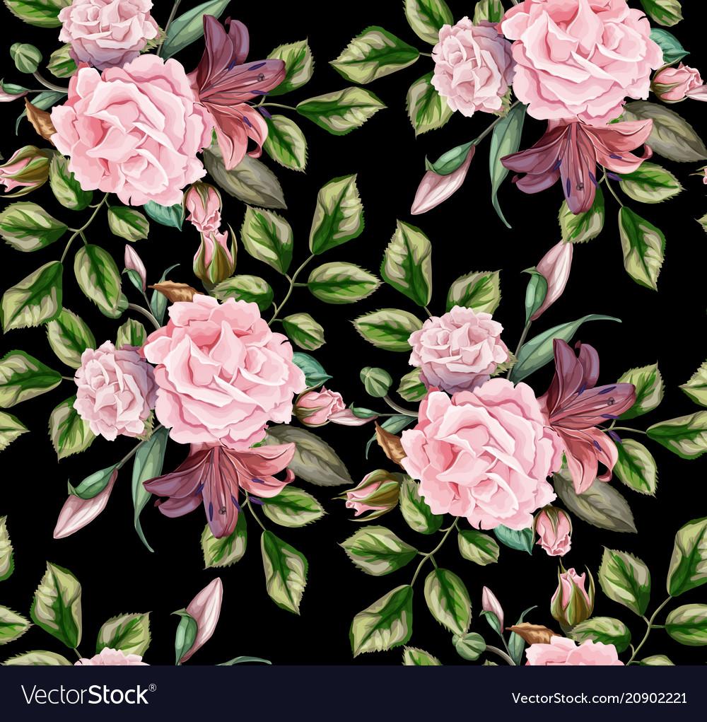Rose flower blossom leaf seamless pattern