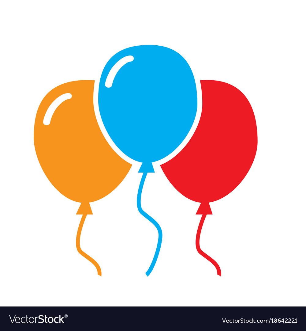 three balloon icon on white background balloon vector image rh vectorstock com balloon vector 21st balloon vector logos eps