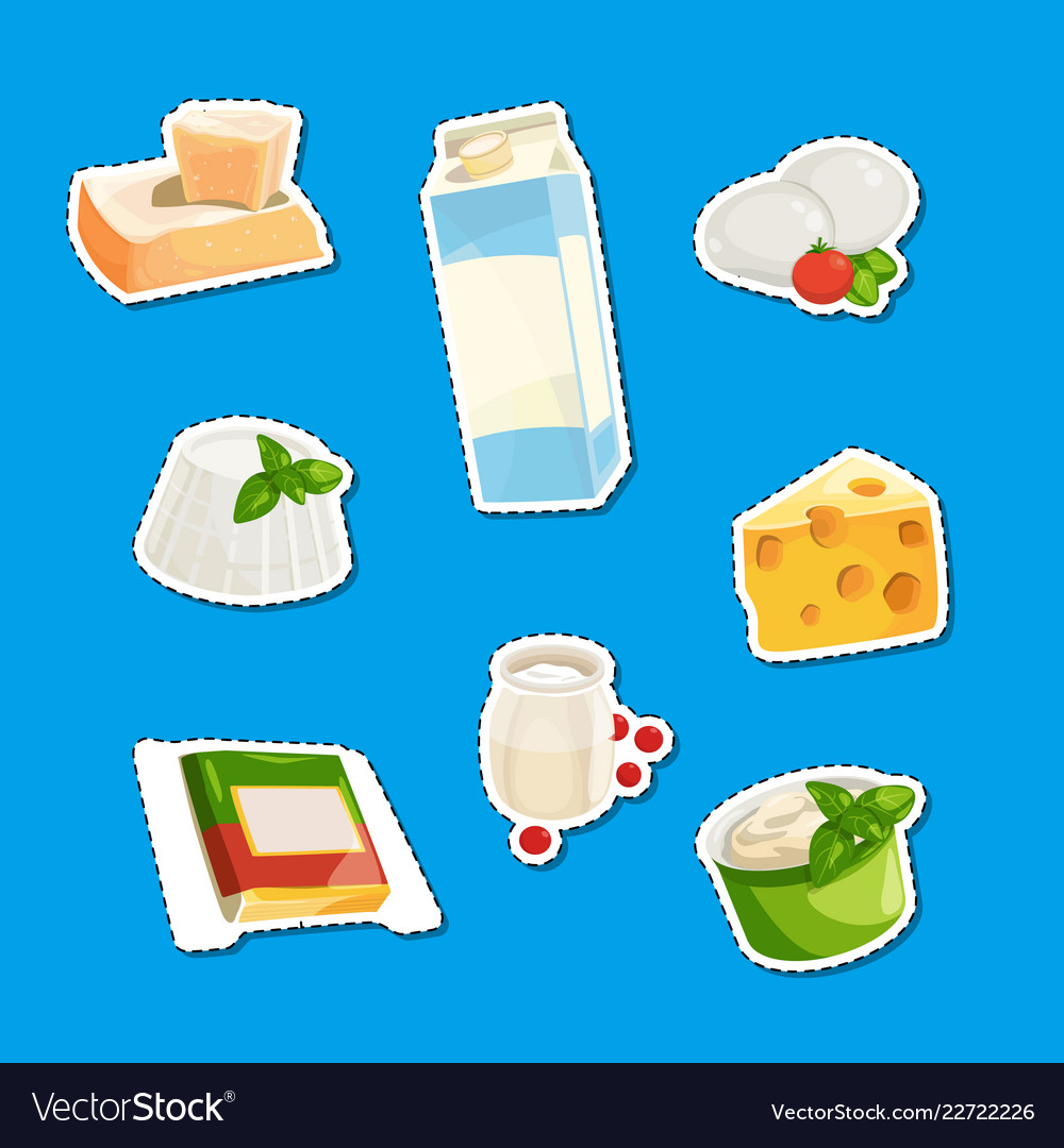 Cartoon dairy and cheese products stickers