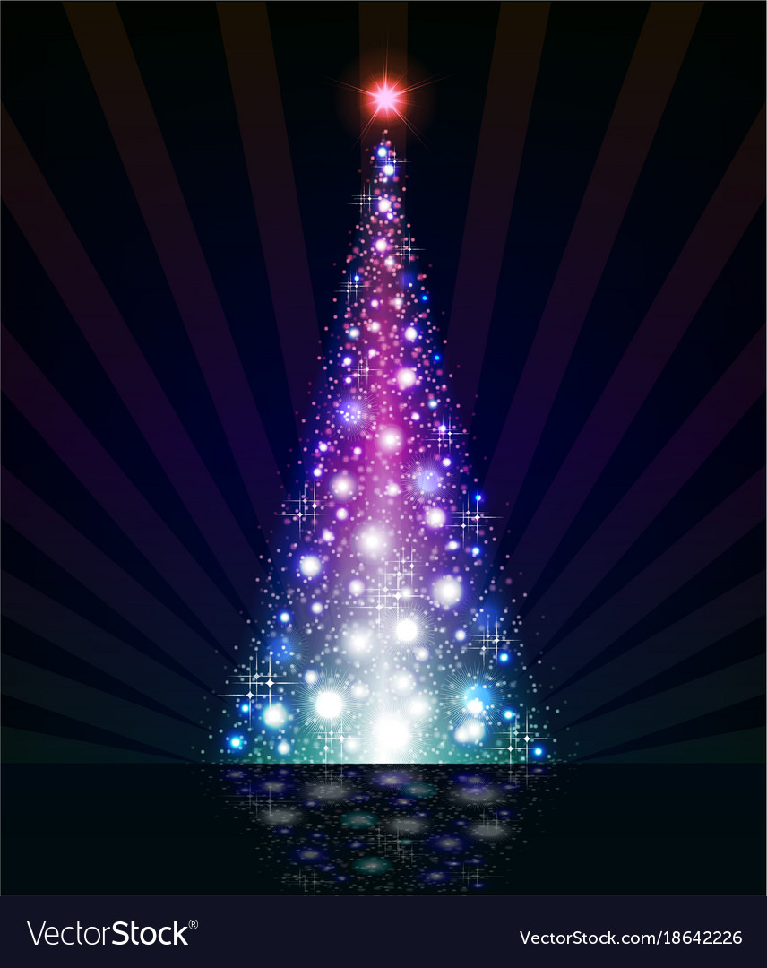 Christmas Violet Tree On A Black Background Vector Image