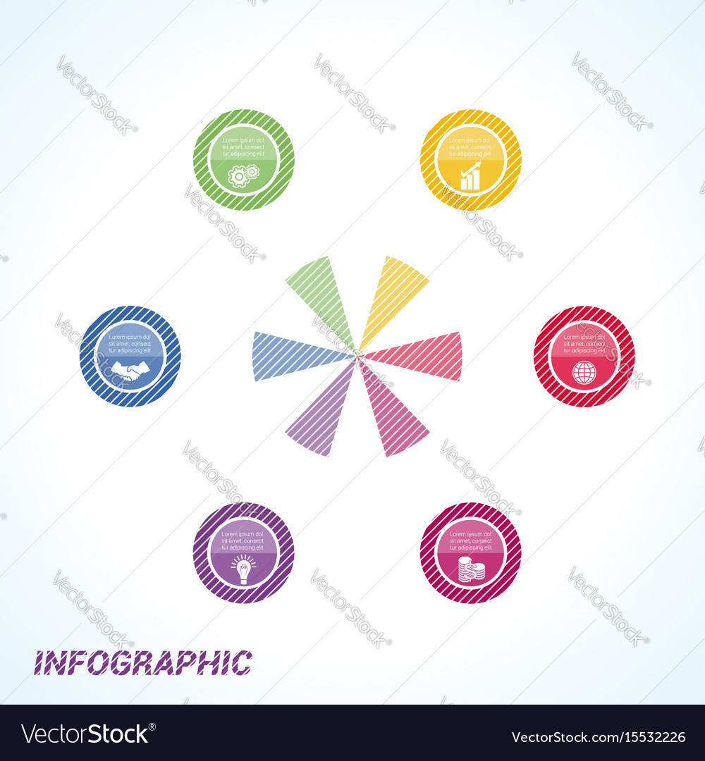 Colourful striped circles template infographics