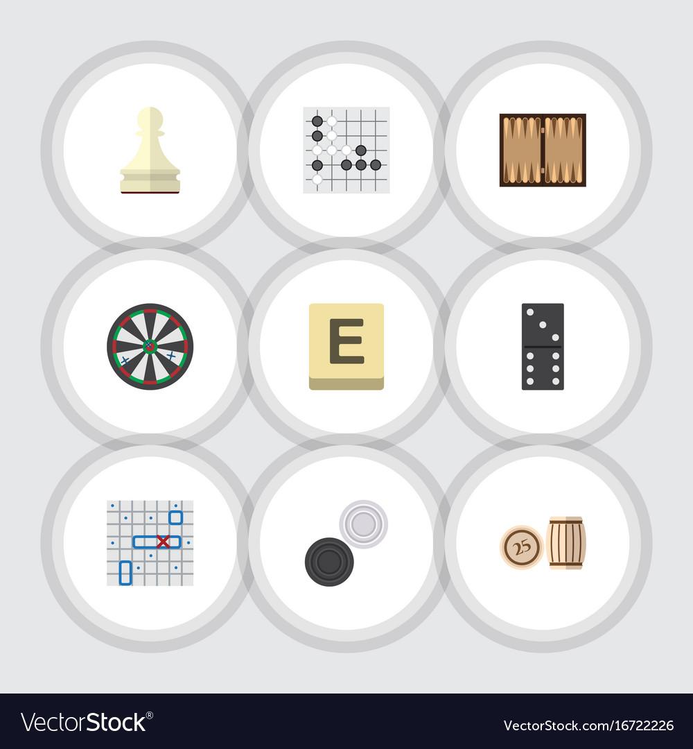 Flat icon games set of gomoku mahjong chequer