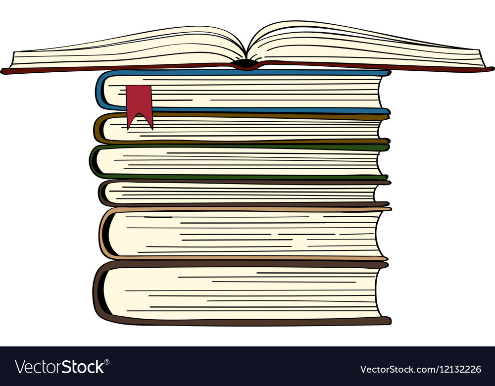 Hand drawn book stack