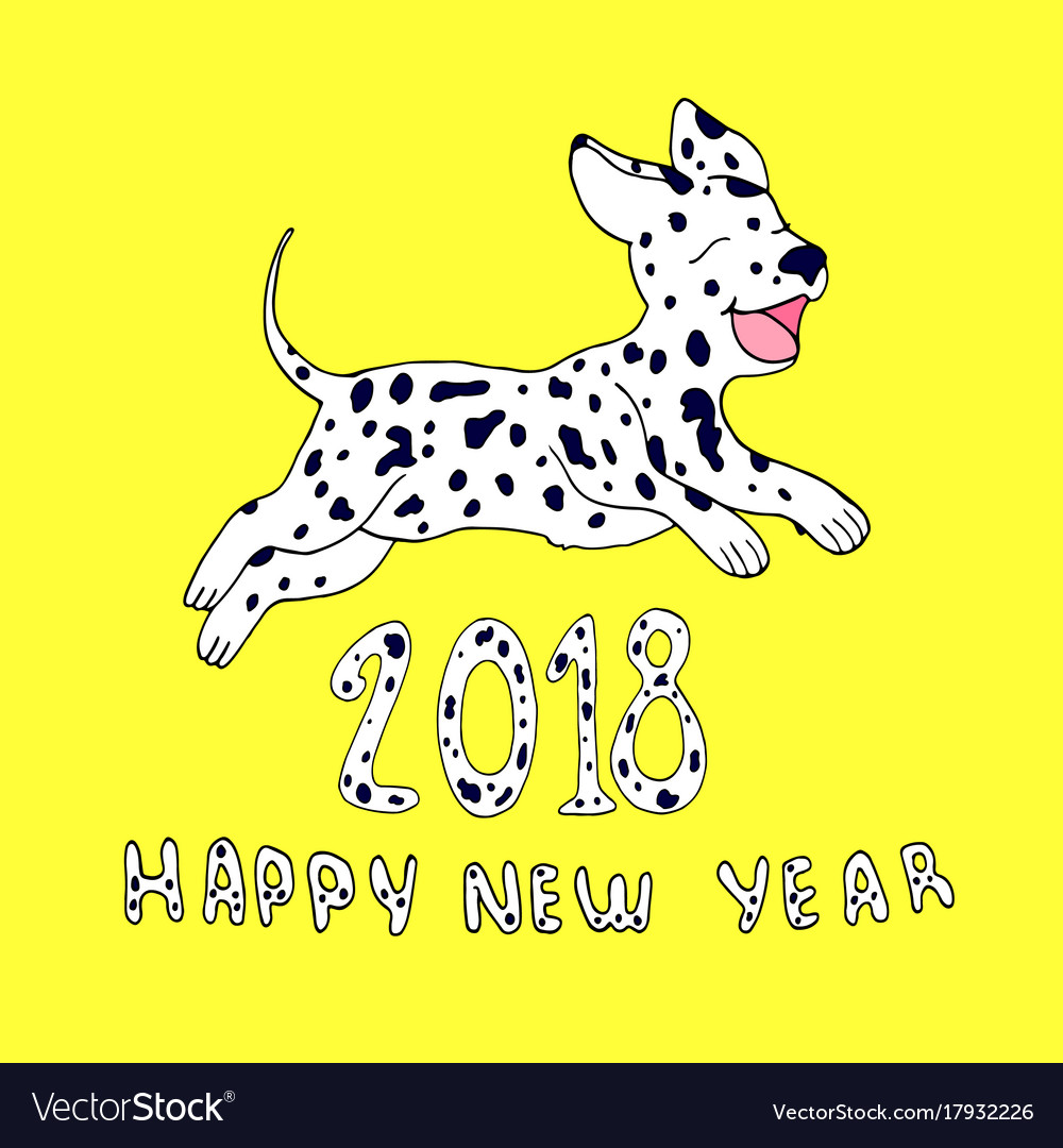Happy dog as a symbol 2018isolated on yellow