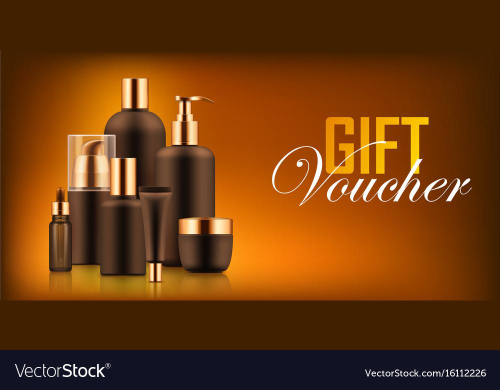 Luxury cosmetic bottle voucher vector image