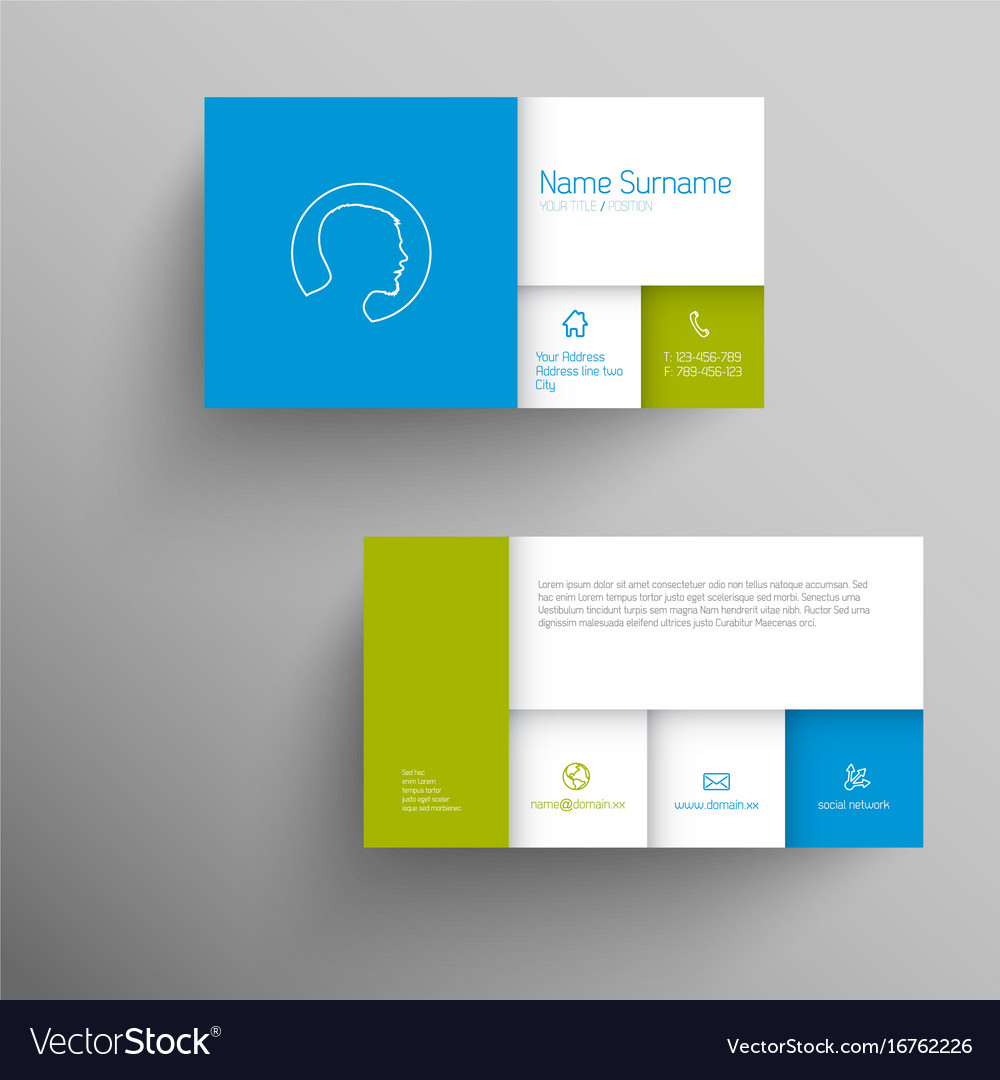 Modern blue green business card template vector image accmission