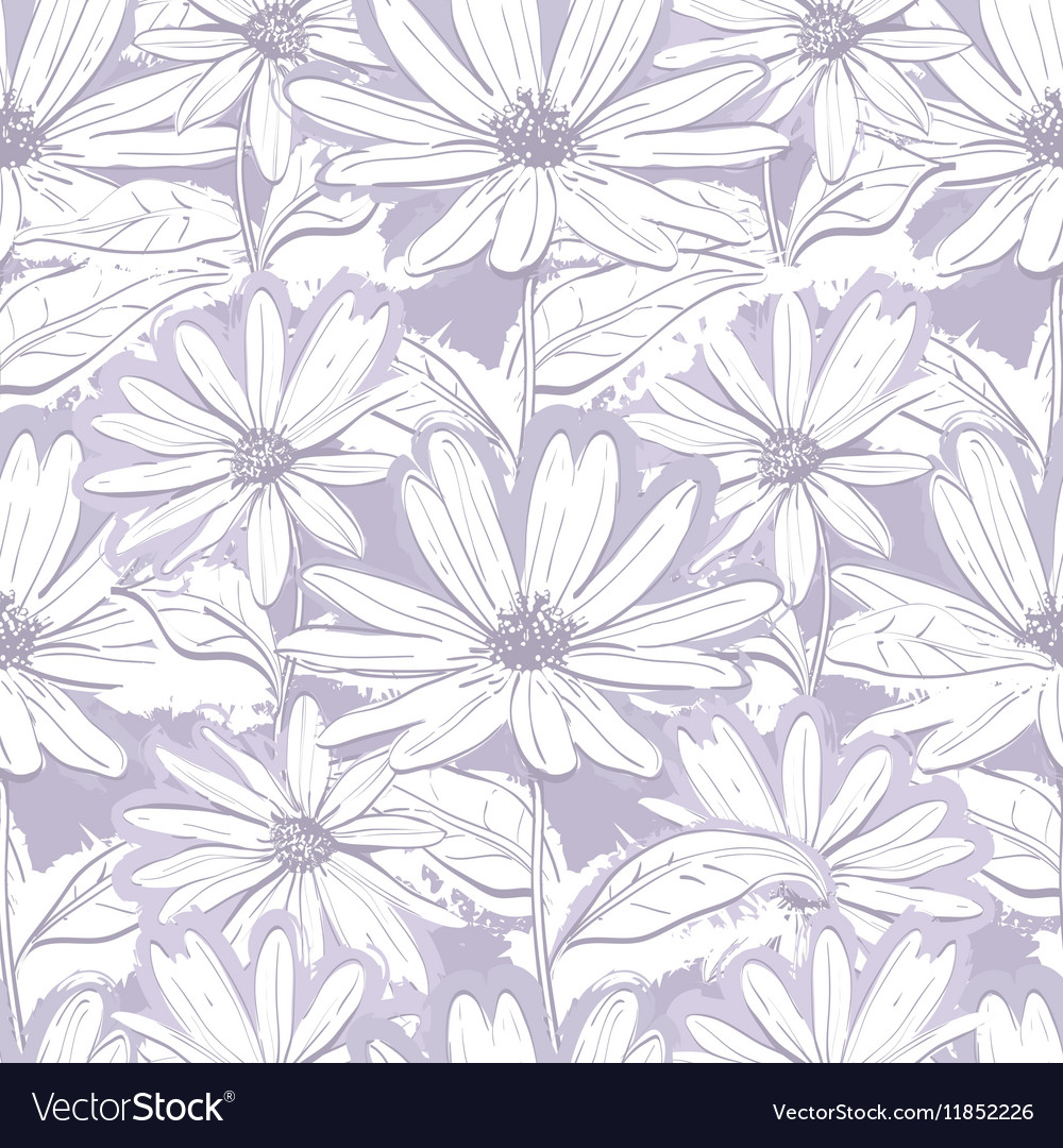 Monochrome Lilac Gray Floral Wallpaper Seamless Vector Image