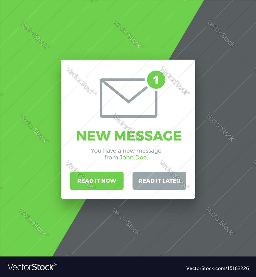Pop-up new message screen