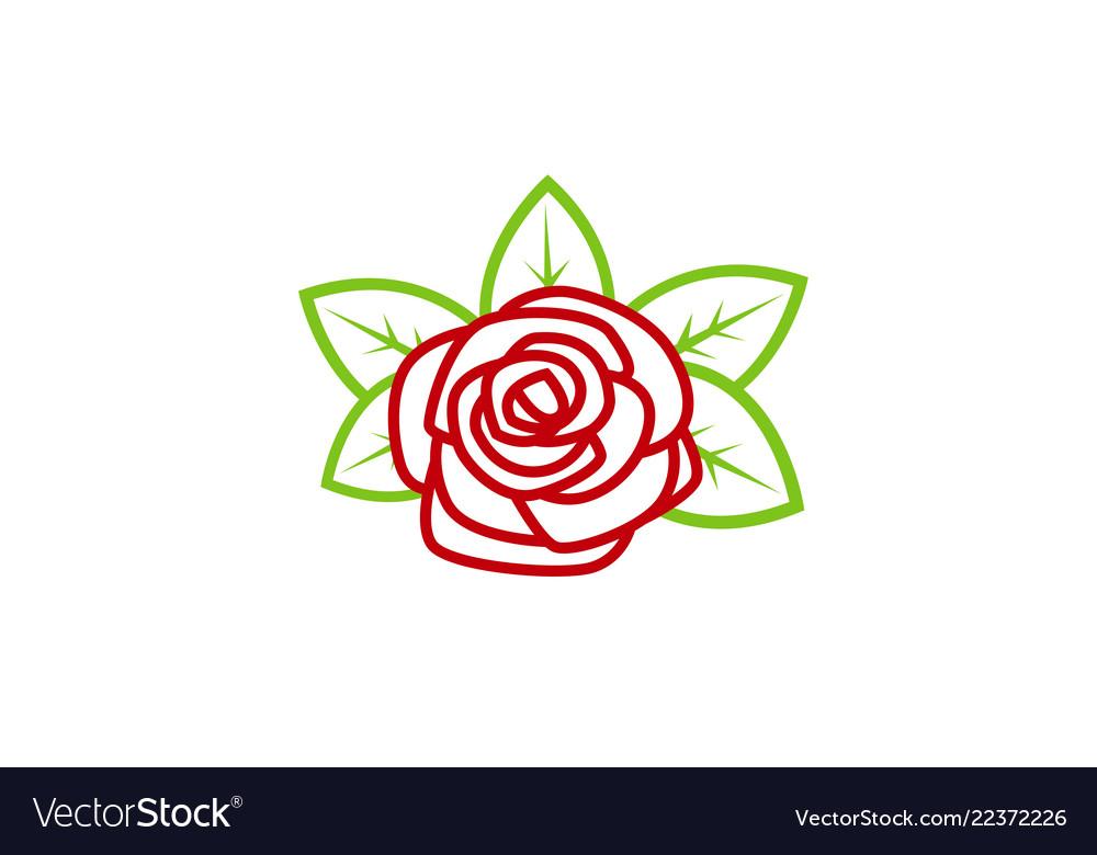 Red rose nature lotus logo