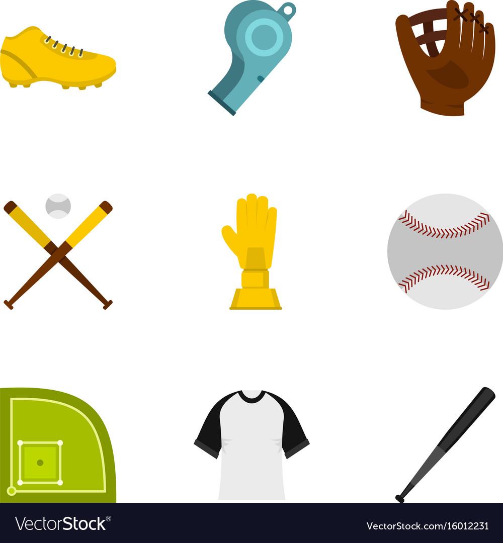 Baseball icons set flat style
