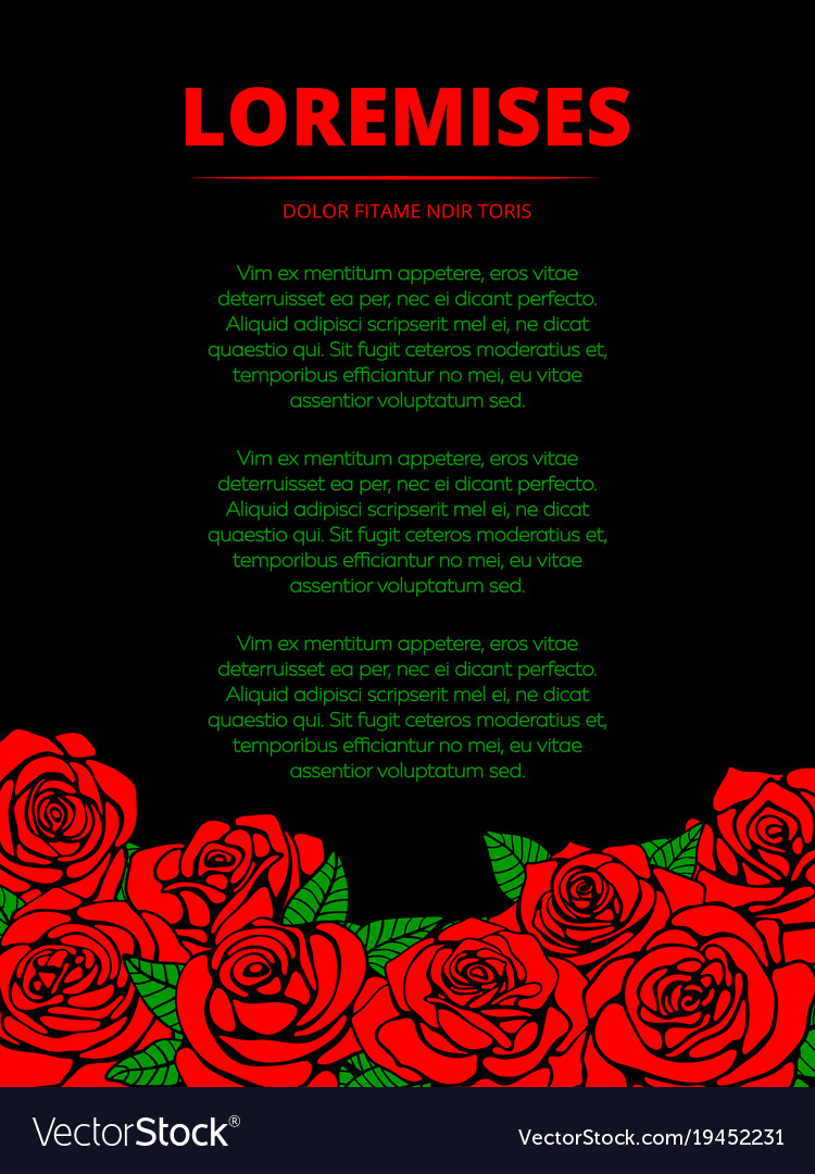 Black poster with red roses and green leaves