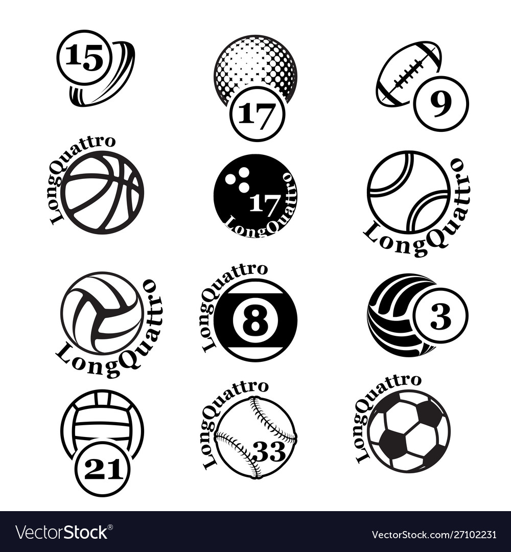 Black sport balls set silhouettes