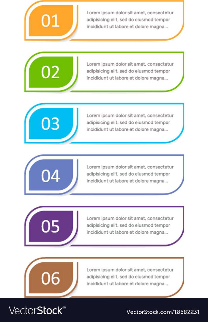 Colorful ui design concept element six steps