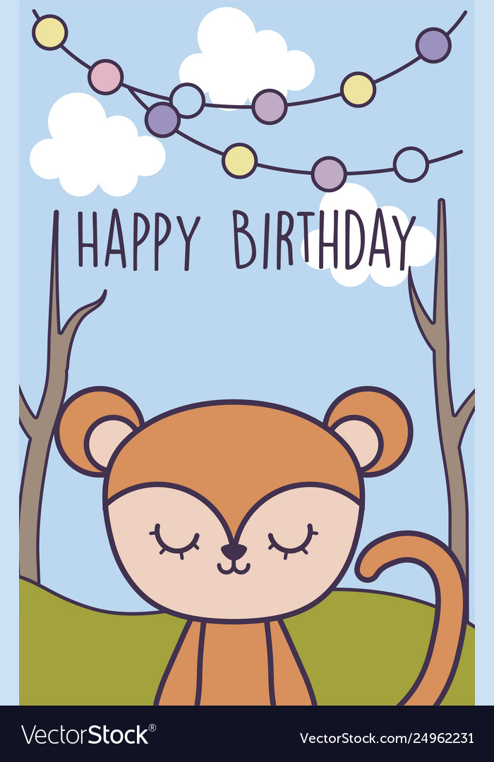 Happy Birthday Card With Cute Monkey In Landscape Vector Image