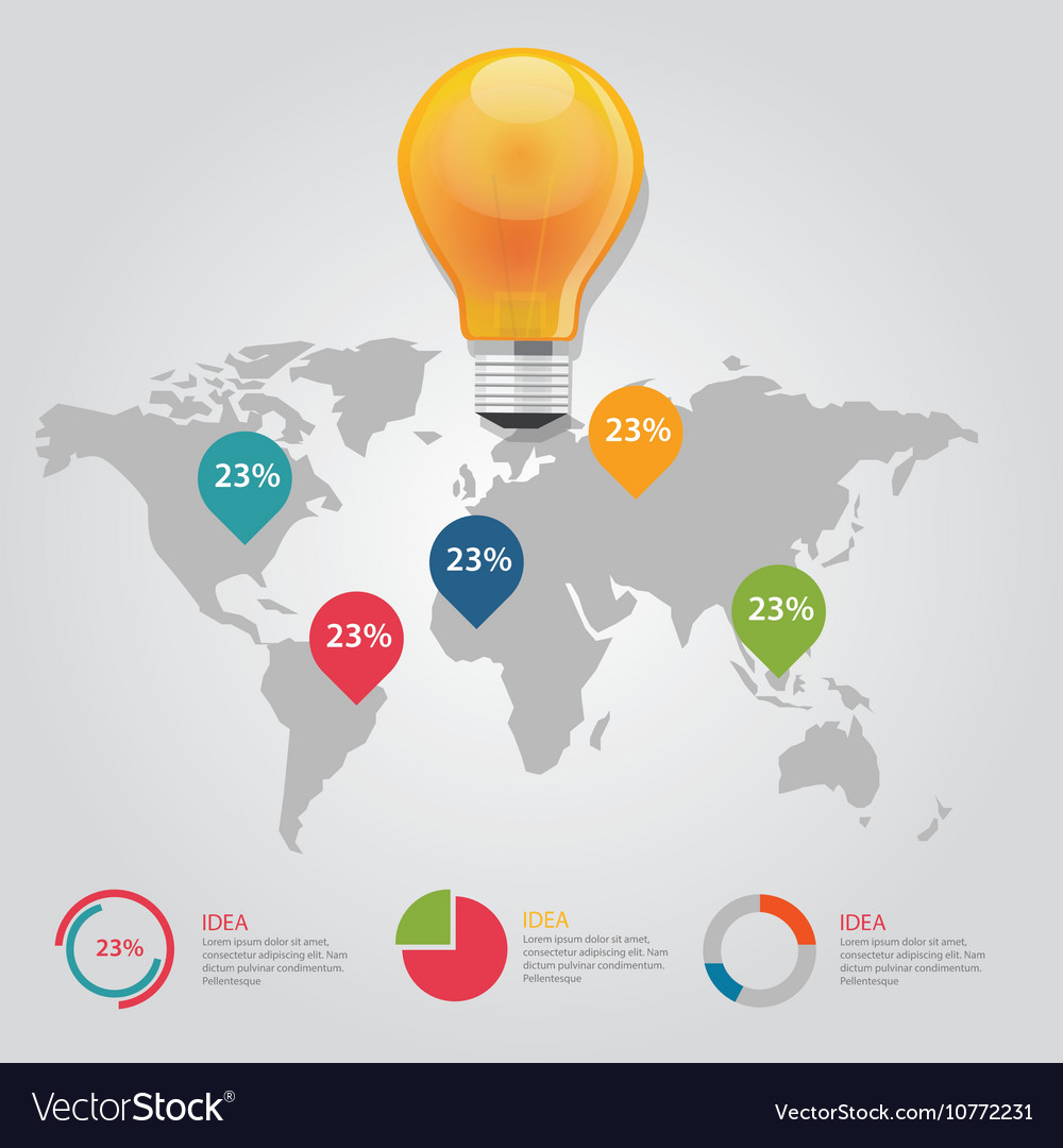Map pointer info graphic chart result bulb idea