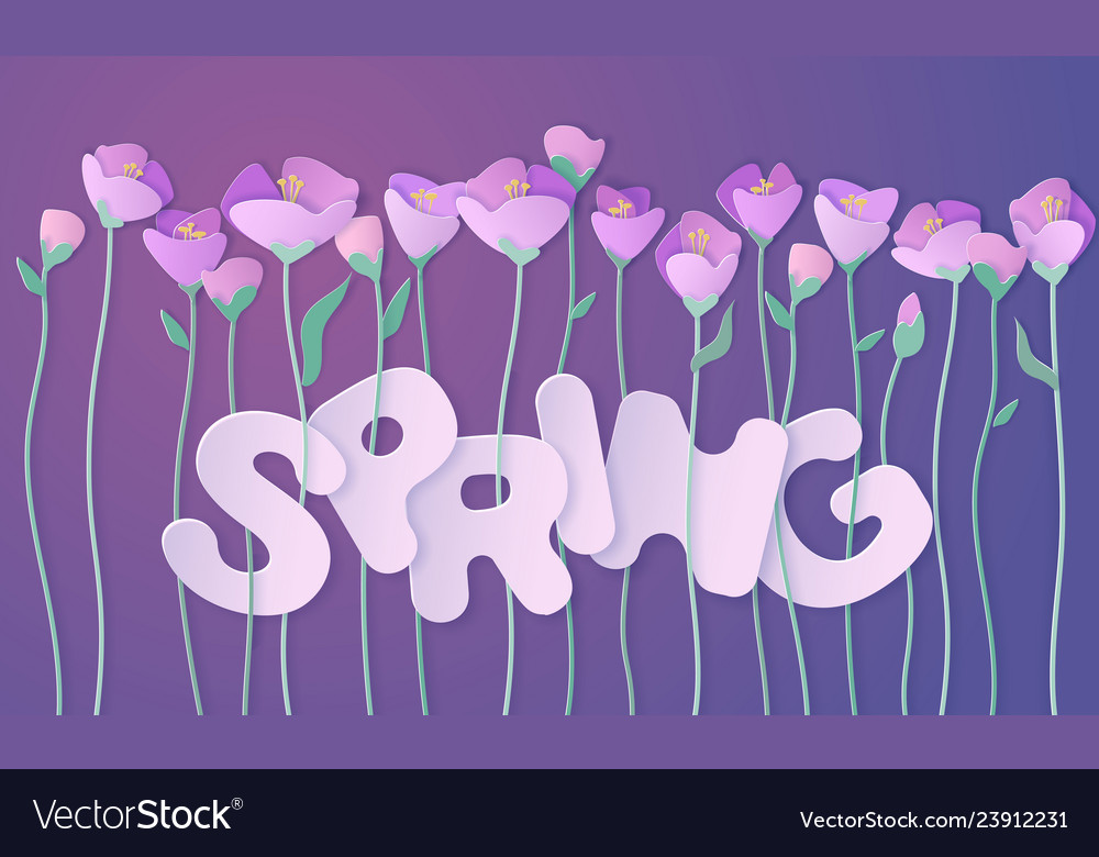 Paper cut 3d flowers banner in purple colors