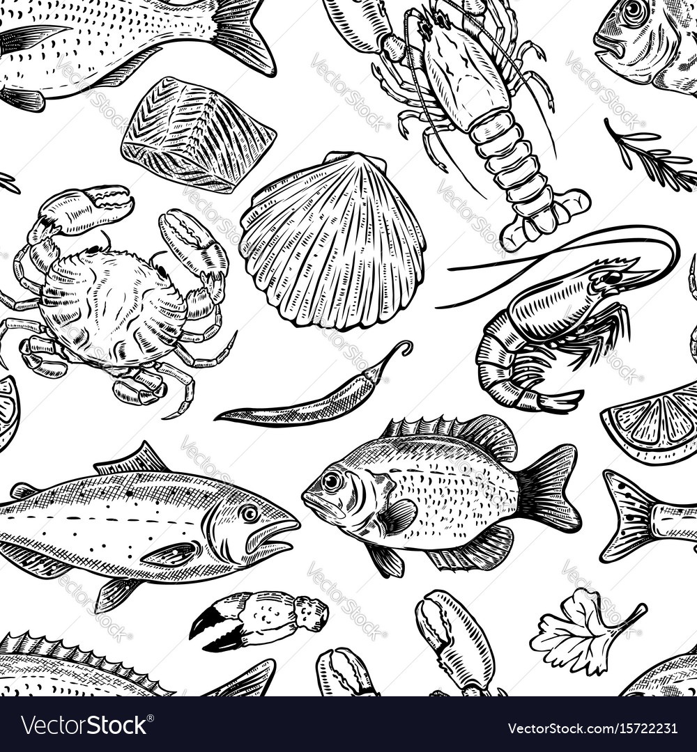 Seafood hand drawn seamless pattern design