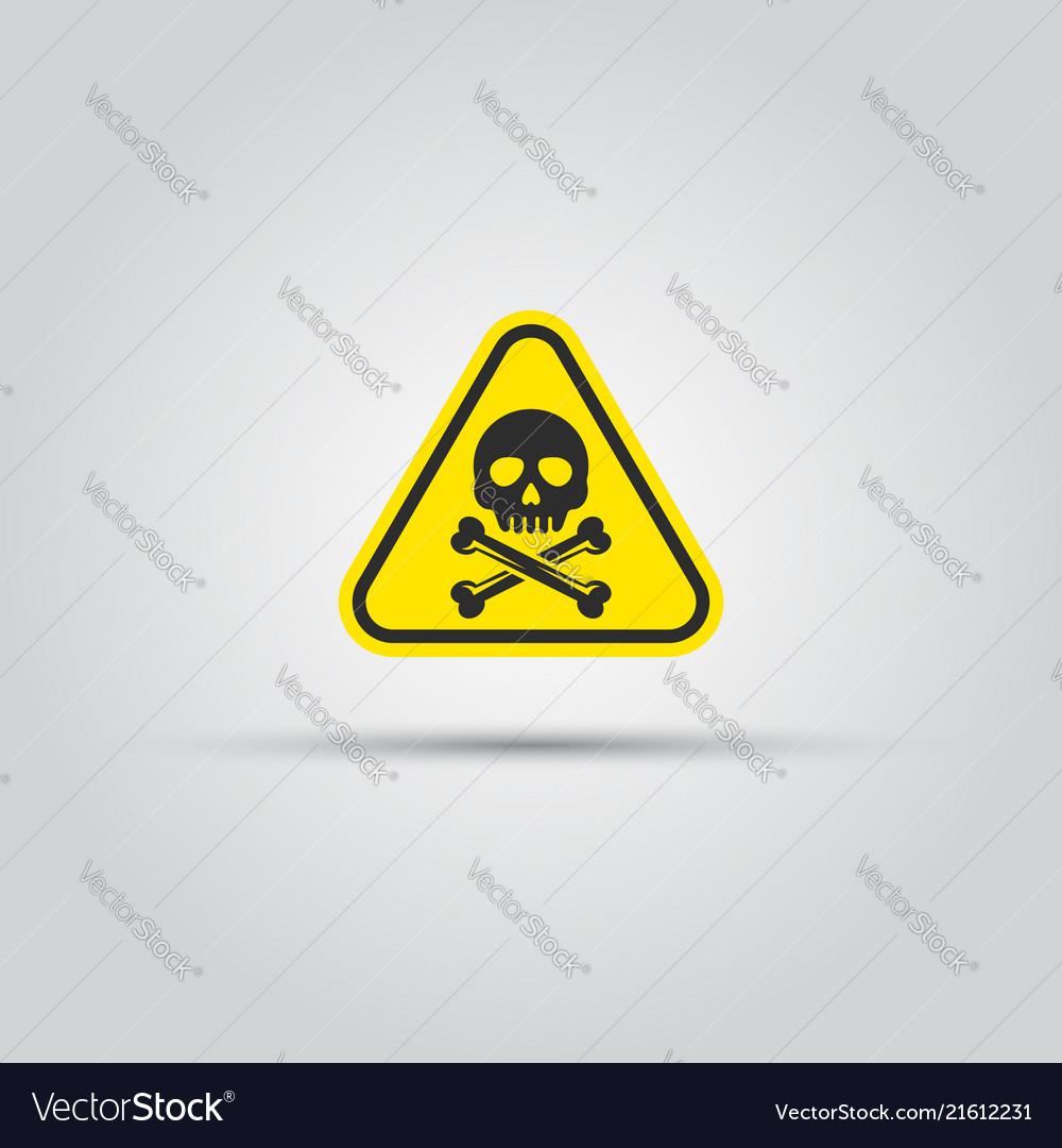 Skull and crossed bones caution triangular sign