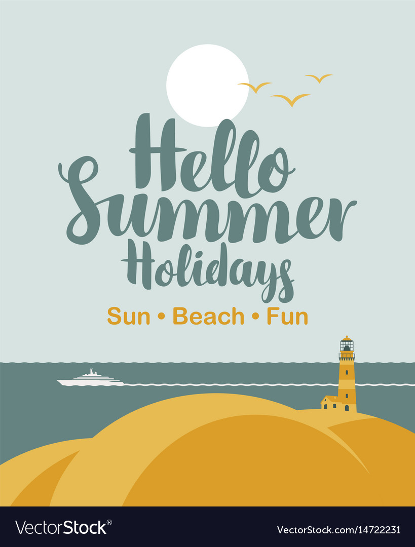 Travel banner with sea sun ship and lighthouse