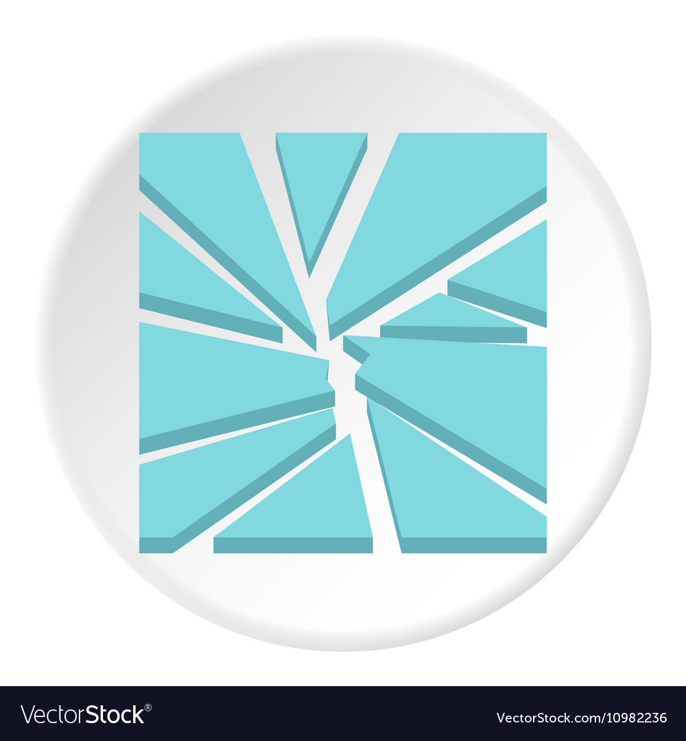 Broken glass icon flat style