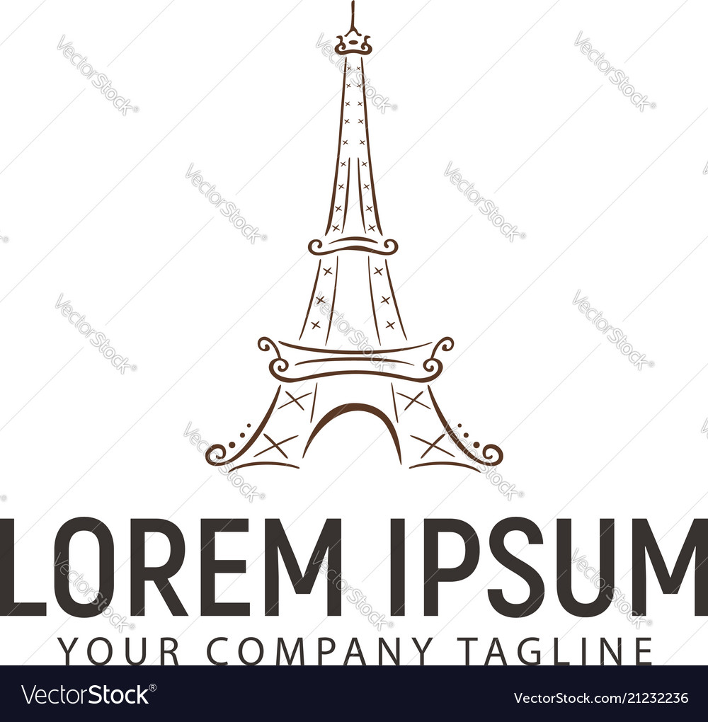 Eiffel tower logo handrawn design concept template