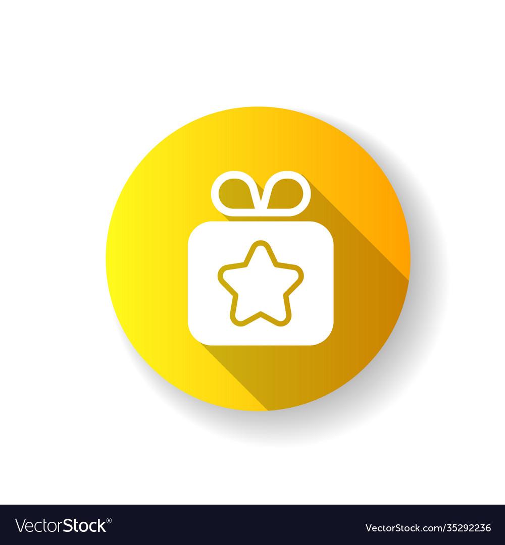 Gift yellow flat design long shadow glyph icon