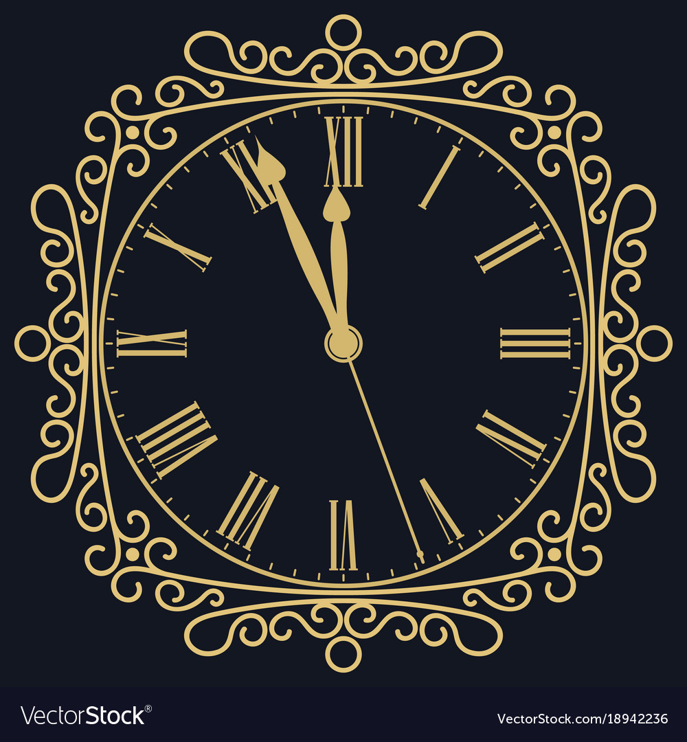 Golden clock for new year and christmas design