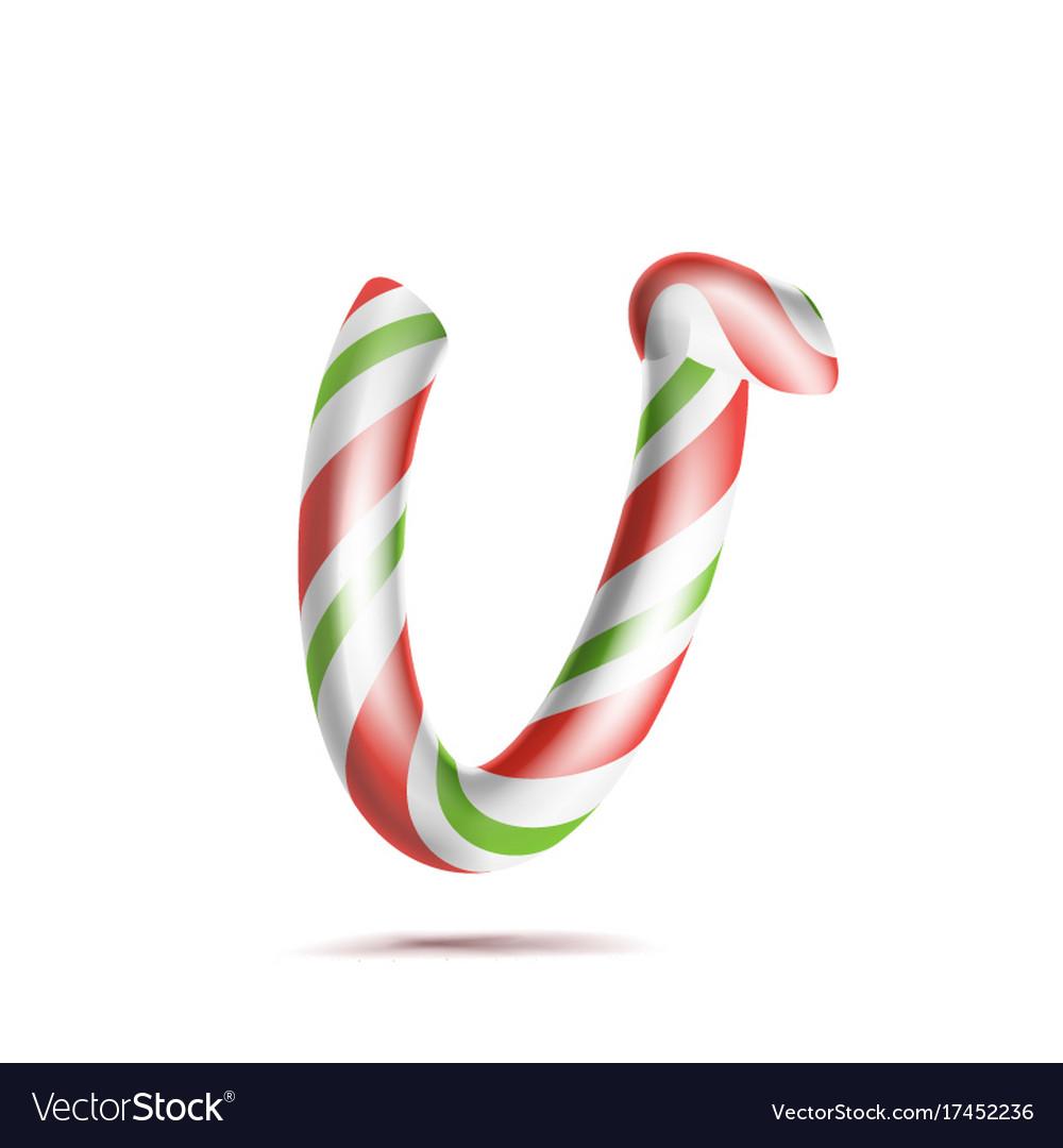 Letter v 3d realistic candy cane alphabet