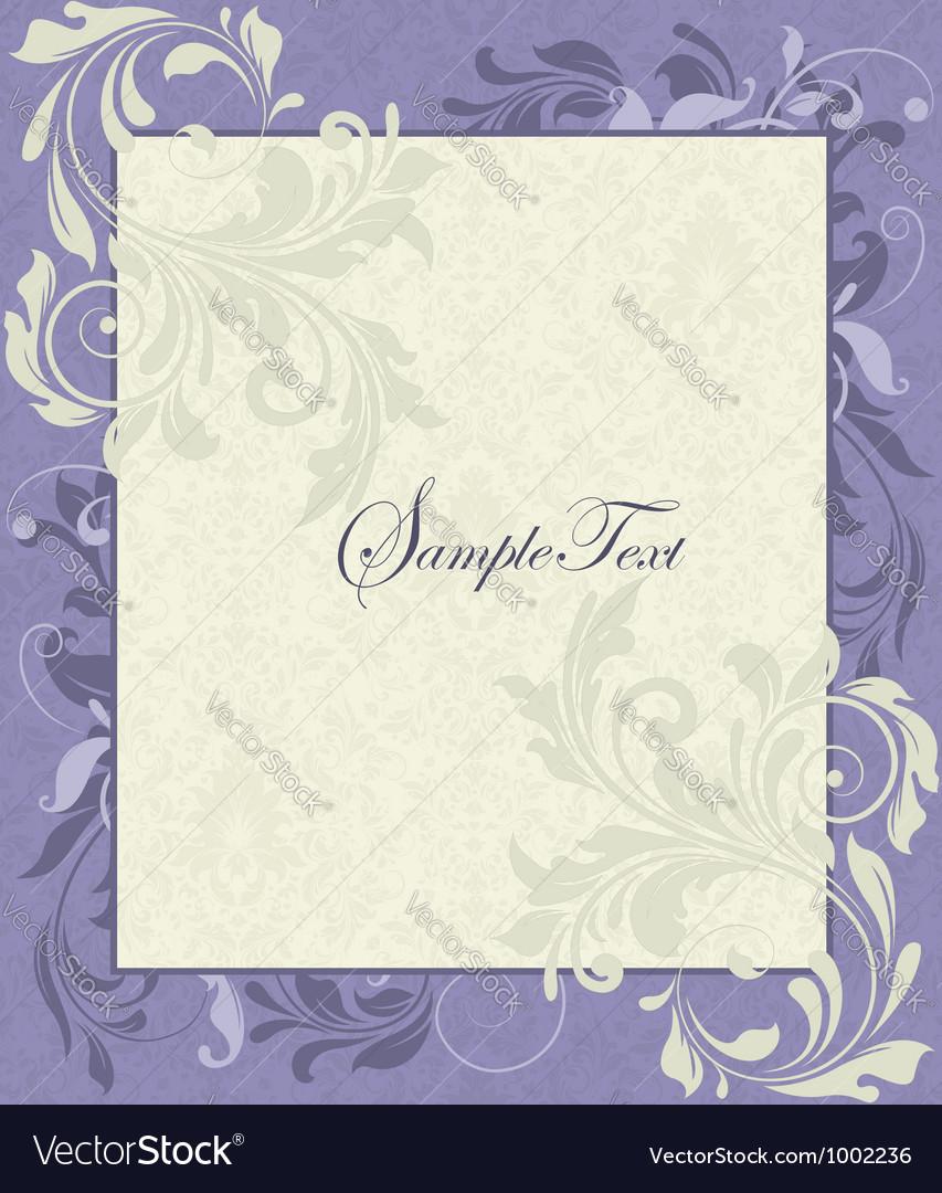 Purple and Ivory Vintage Floral Wedding Invitation