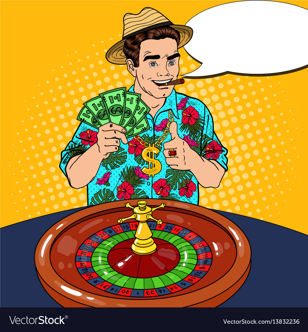 Rich man behind roulette table celebrating big win