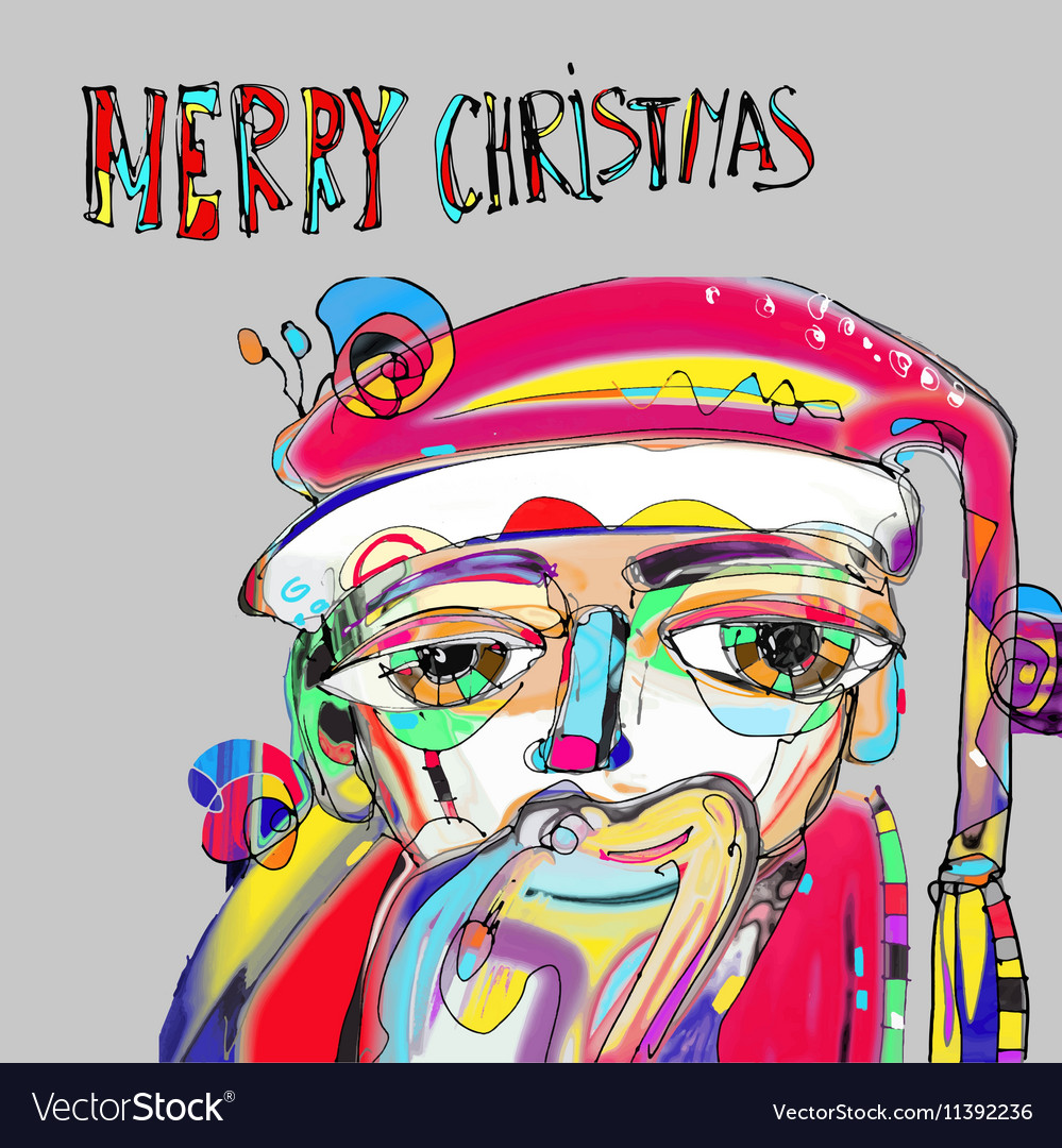 Santa Claus In Contemporary Art Style With