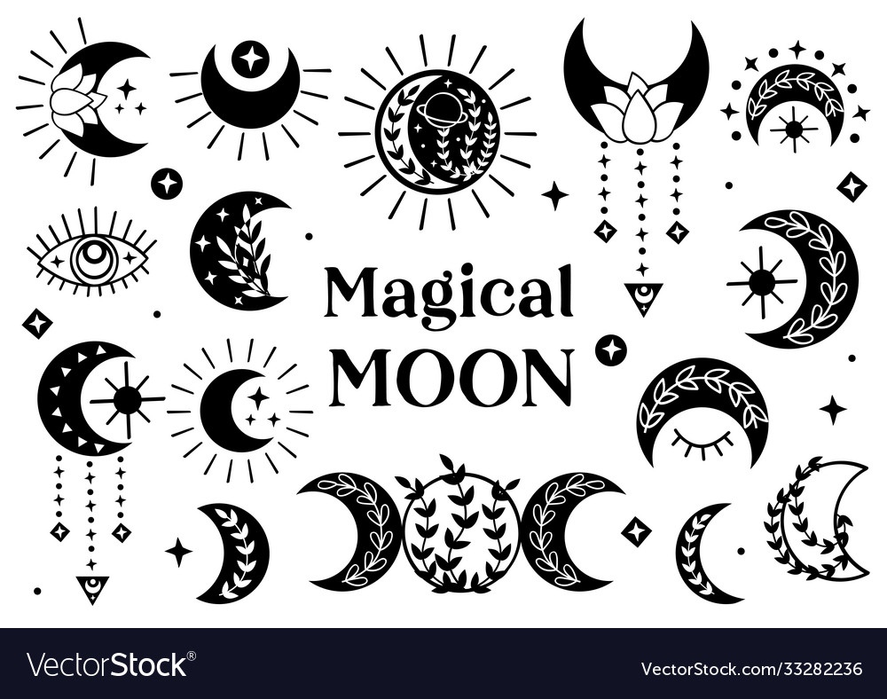 Set isolated black magical moon icons