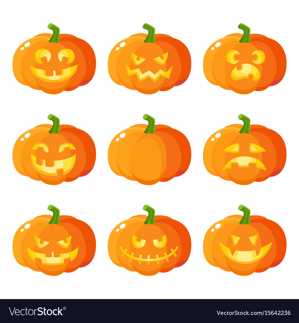 Set of cartoon halloween pumpkin jack,o,lanterns