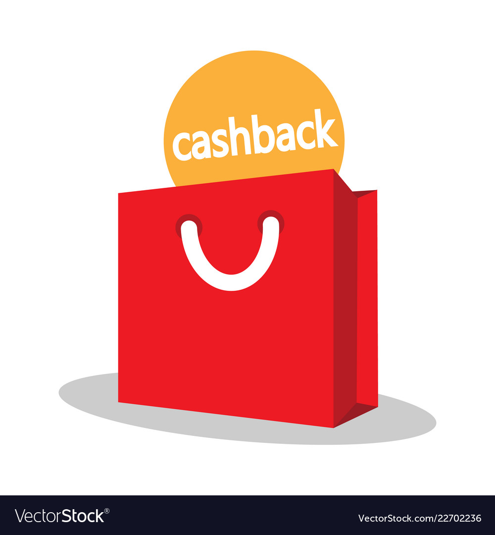 Shopping bag with the sign of the cashback
