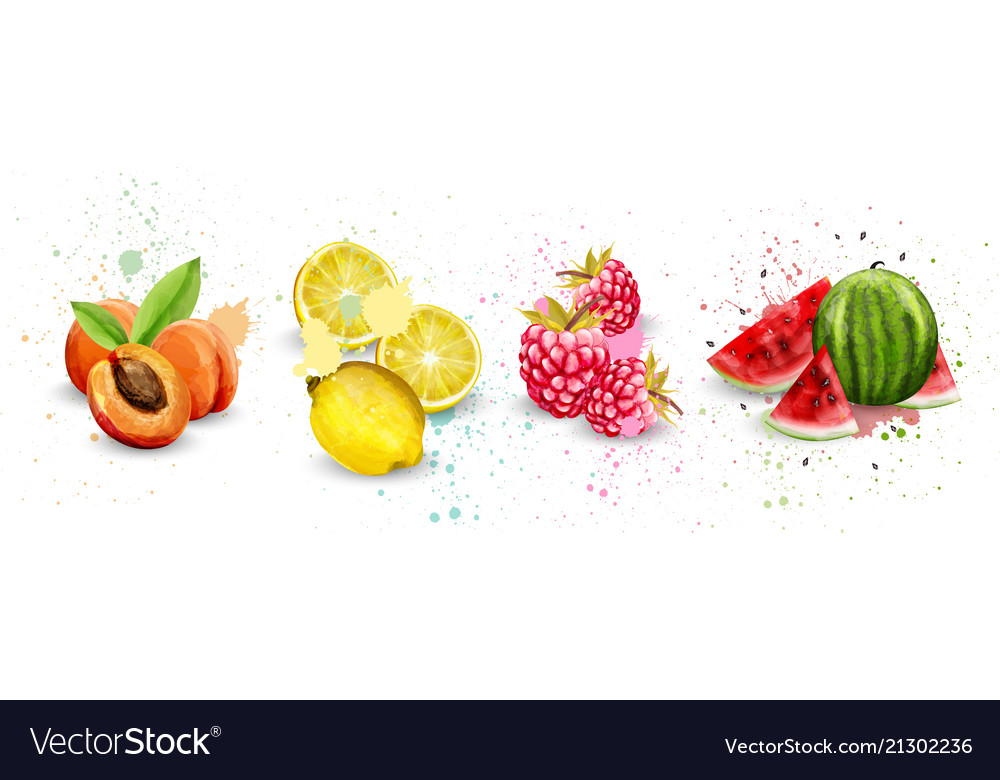 Watercolor fruits set apricot lemon