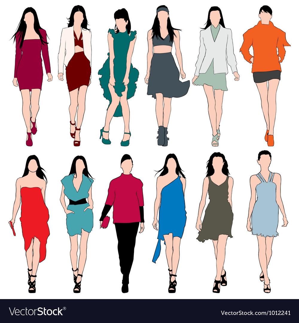 12 Fashion Models Silhouettes Set