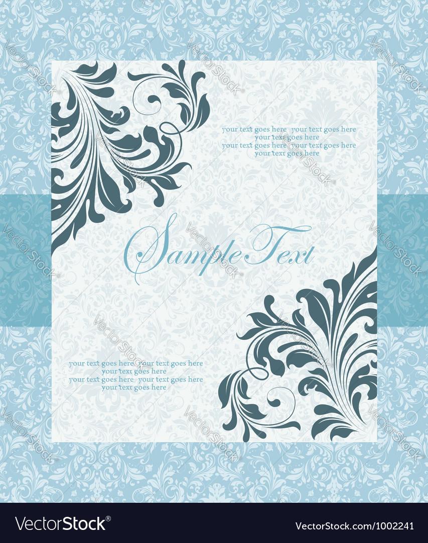 Blue wedding card Royalty Free Vector Image - VectorStock