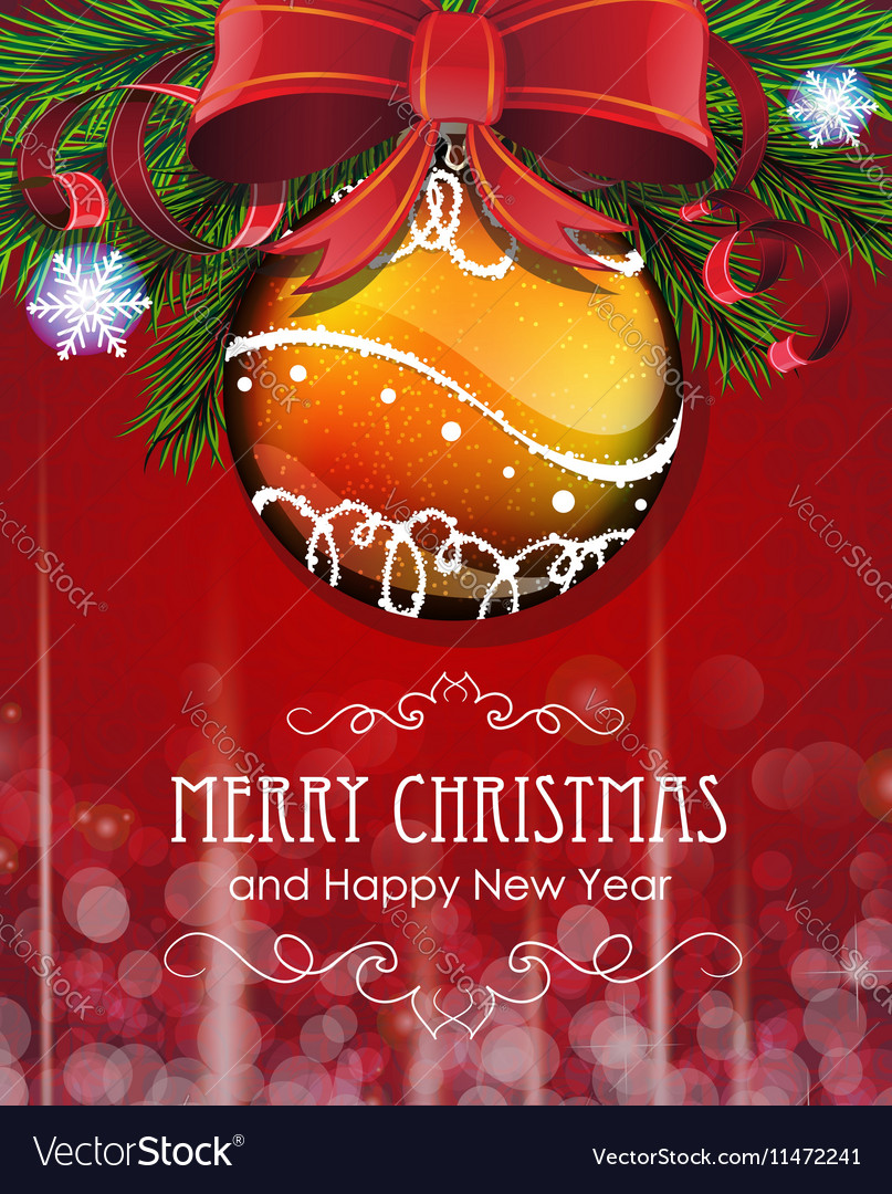 Christmas tree branches with bow and bauble vector image