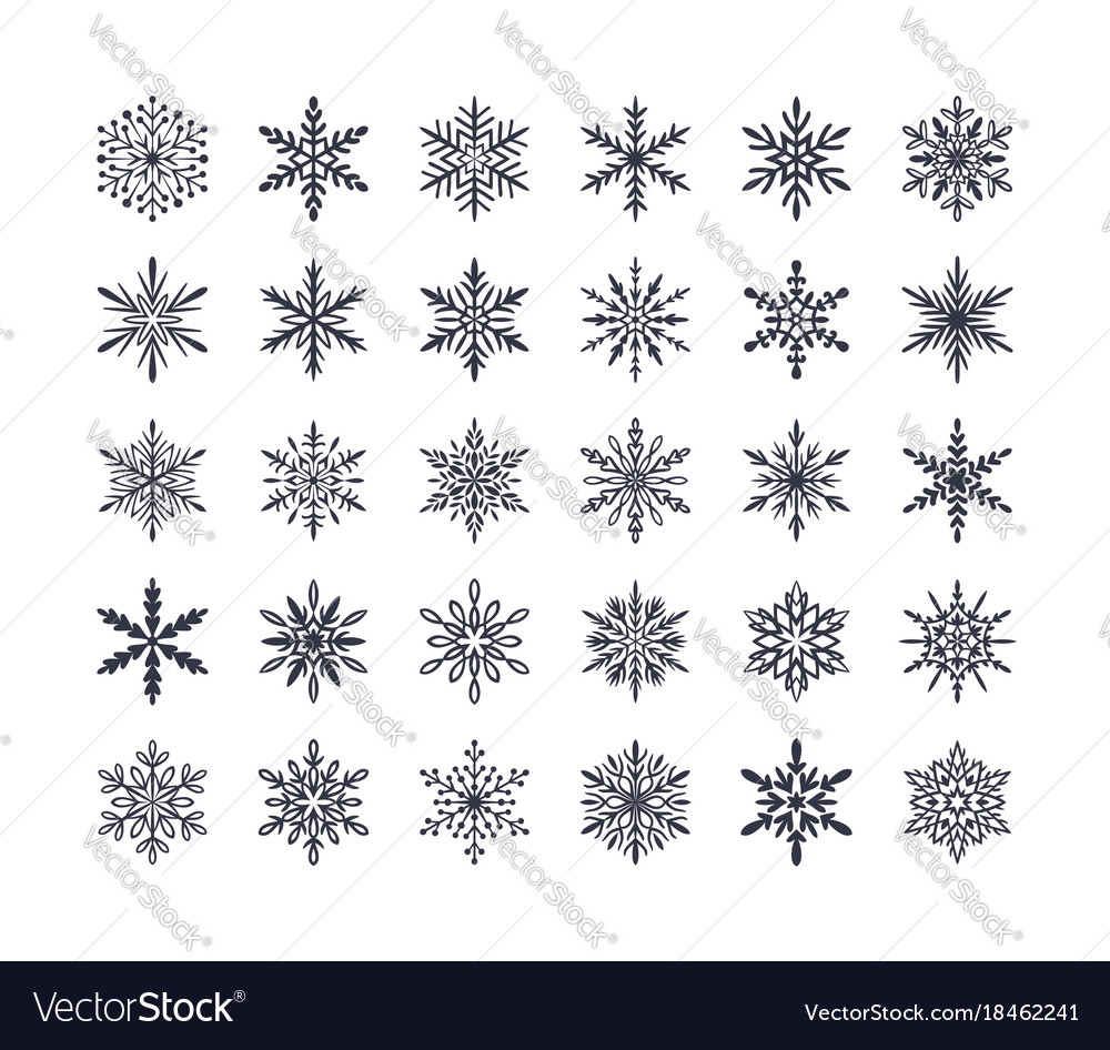Cute snowflakes collection isolated on white