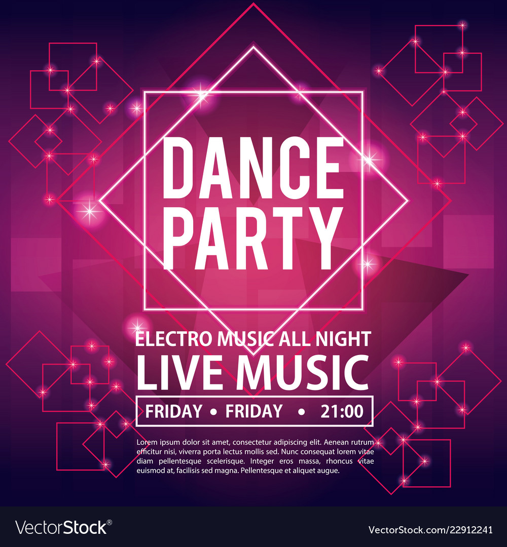 dance party invitation royalty free vector image
