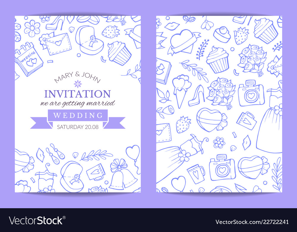 Doodle wedding invitation template poster vector