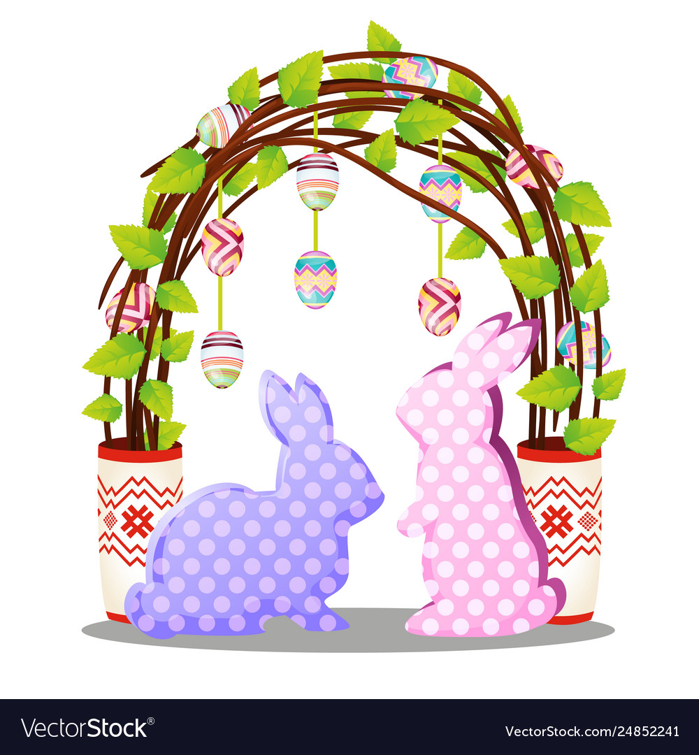 Easter decor in form silhouettes hares