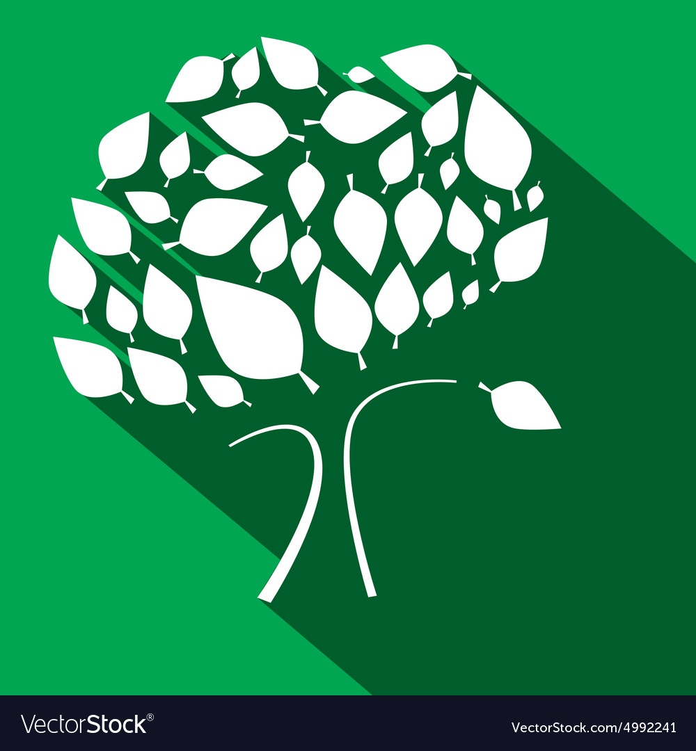 Flat Design Tree on Green Background