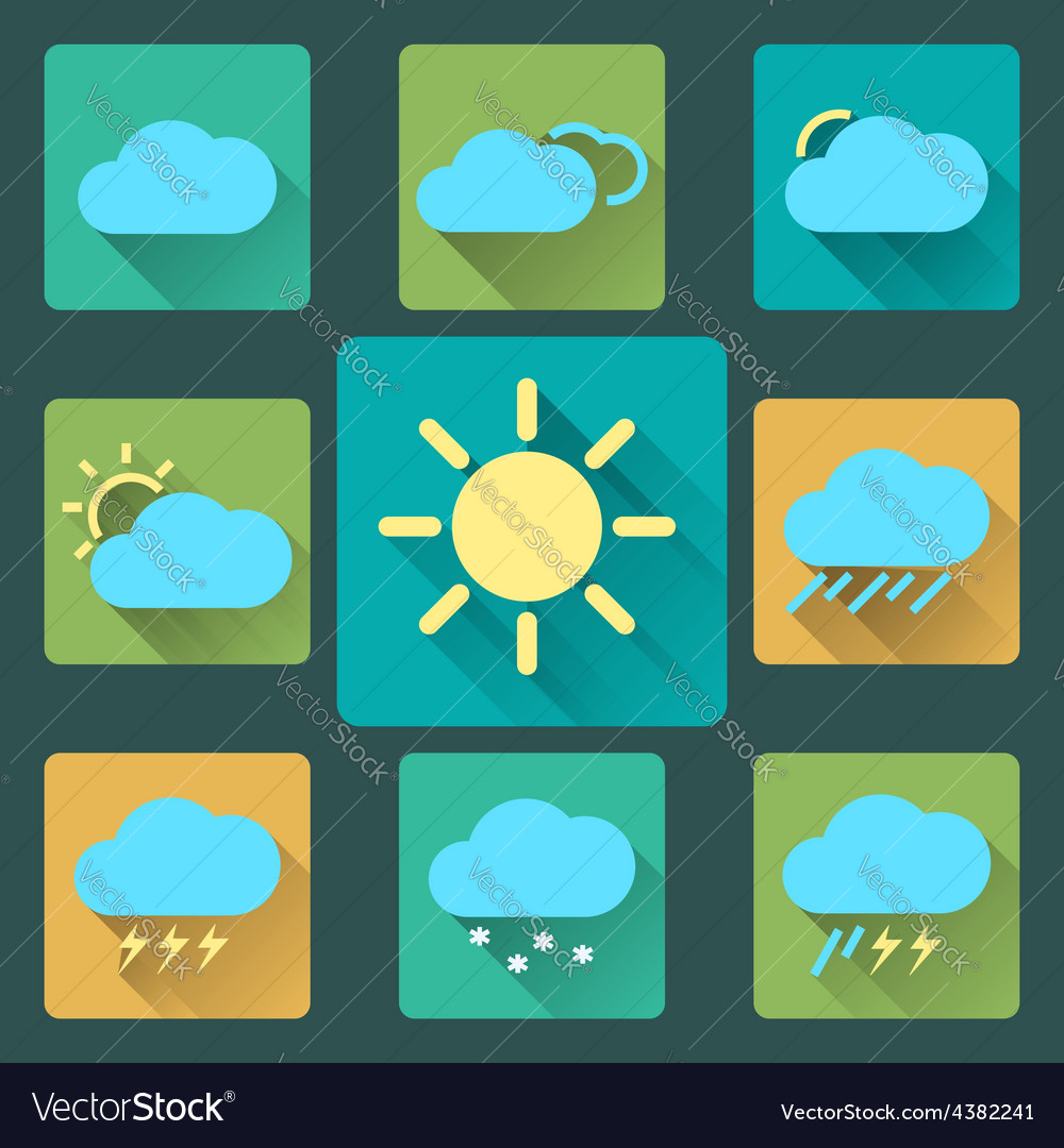 Flat Weather icons and set Long Shadows Seasons