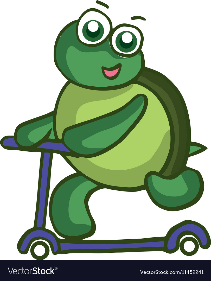 Funny Turtle with scooter