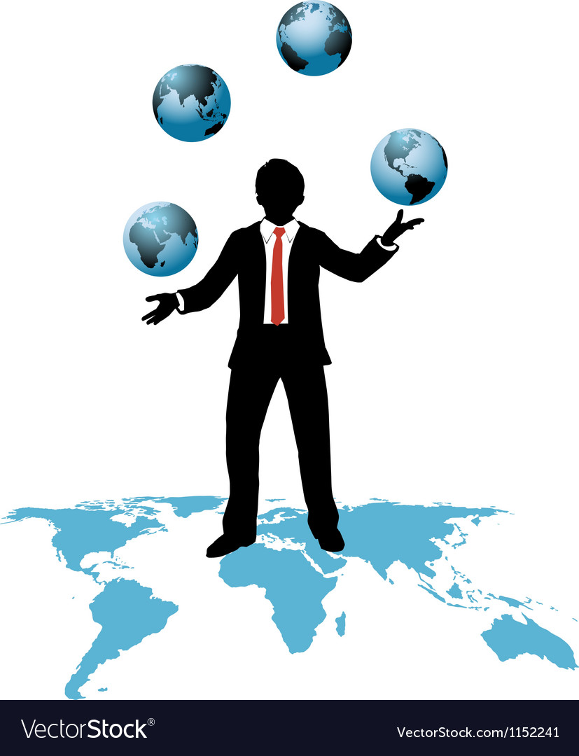 Global business man juggles business worlds vector image